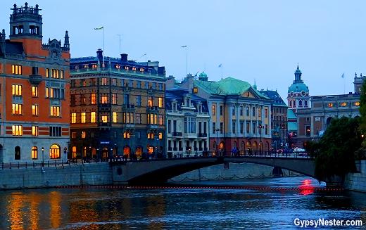 Stockholm, Sweden at dusk