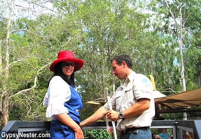 Getting latched on to the crocodile feeding platform at Dreamworld, Gold Coast, Queensland, Australia