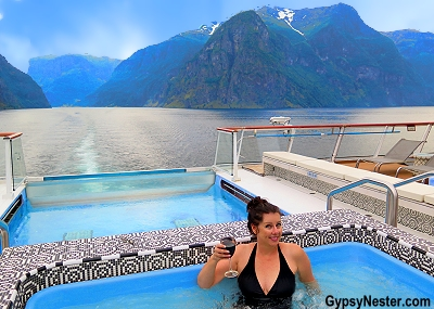 In the hot tub aboard the Viking Star in the fjords of Norway. The GypsyNesters