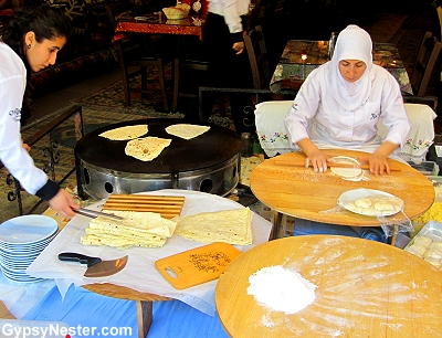 Making gözleme in Istanbul, Turkey
