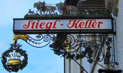 Stiegl Keller Guild Sign in Salzburg, Austria
