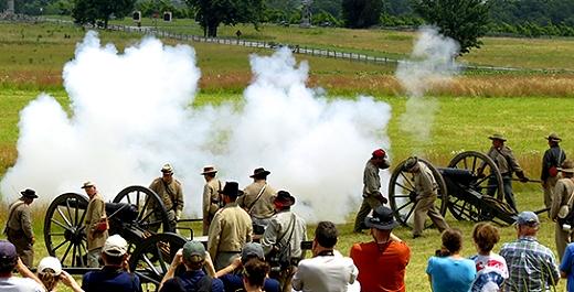 A reinactment in Gettysburg