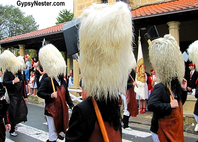 The Alarde in Hondarribia, Spain begins with men in tall sheepskin hats