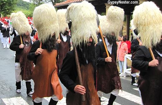 The Alarde in Hondarribia, Spain begins with men in tall sheepskin hats