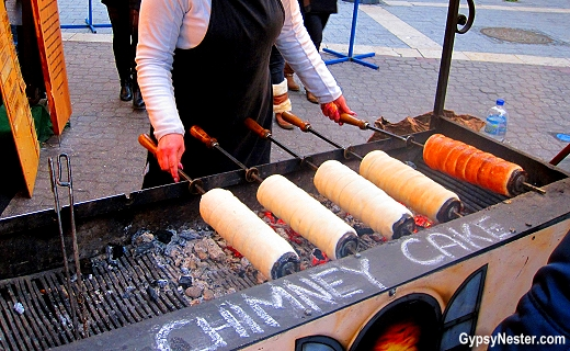 Chimney cakes at the Christmas Market in Budapest, Hungary