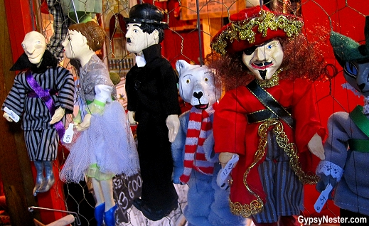Handmade puppets at Budapest Christmas Market