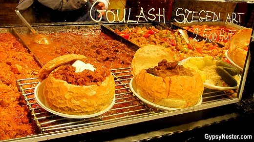 Goulash in a bread bowl at the Christmas Market in Budapest, Hungary