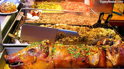 An entire roasted big at the Christmas Market in Budapest, Hungary