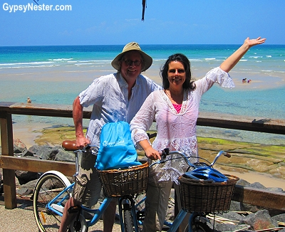 The GypsyNesters riding bikes along the Caloundra Coastal Walk, Sunshine Coast, Australia