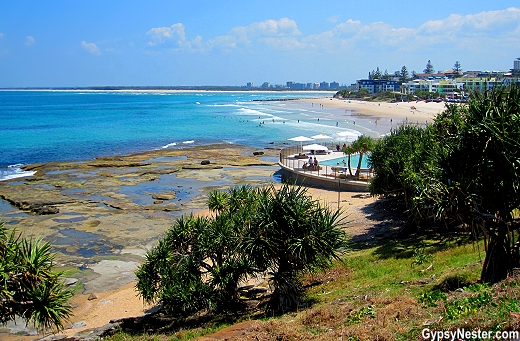 Spectacular ocean view while riding bikes along Caloundra Coastal Walk in Queensland, Australia