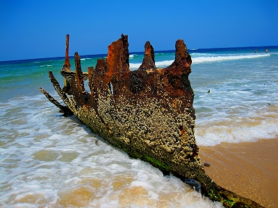 The shipwreak of the SS Dicky on Dicky Beach, Caloundra, Queensland, Australia