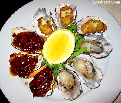 Oysters three ways at Drift restaurant in Caloundra, Queensland, Australia