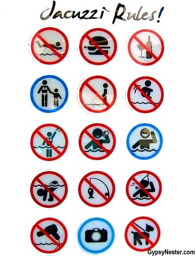The hilarious jacuzzi rules at The Rumba Resort in Caloundra, Sunshine Coast, Queensland, Australia