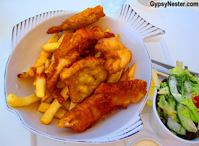 Fish and chips at Saltwater Restaurant in Caloundra, Queensland, Australia