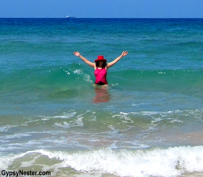 Veronica swims at Dicky Beach, Caloundra, Queensland, Australia! GypsyNester.com