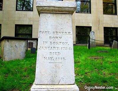 Paul Revere's grave at the Old Granary Burial Ground in Boston