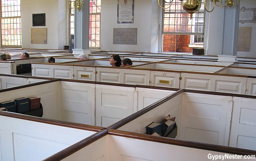 Box pews at the Old North Church in Boston