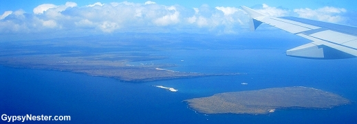 Our first glimpse of the Galapagos Islands