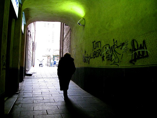Travel Photo Roulette: Genoa Woman in Silhouette. Copyright by GypsyNester.com