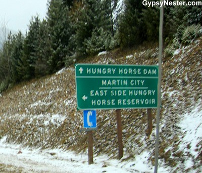 The town of Hungry Horse on the way to Glacier National Park from Whitefish Montana