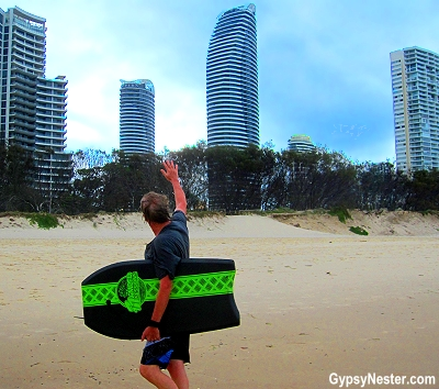 Peppers hotel from the beach in Gold Coast, Queensland, Australia