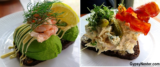 Shrimp and chicken smorrebrod in Copenhagen, Denmark