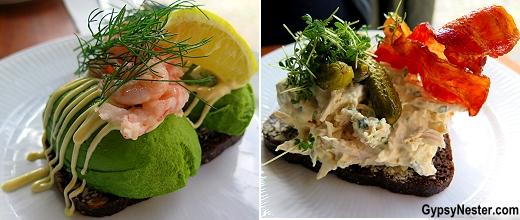 Shrimp and chicken smorrebrod in Copenhagen, Denmark