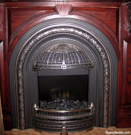 The fireplace in our suite at the Irish Cottage Inn, Galena Illinois