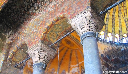 An arch in the Hagia Sophia, Istanbul, Turkey