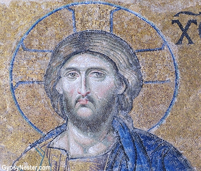 Christian mosiac in Hagia Sophia in Istanbul, Turkey