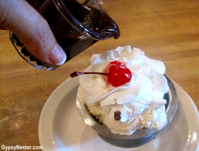 The secret, super delicious hot fudge at Lagomarcino's