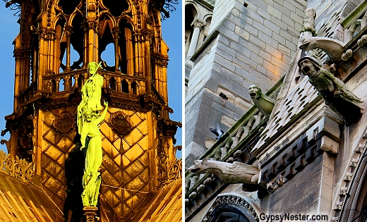 Gargoyles and statues on Notre Dame Cathedral in Paris
