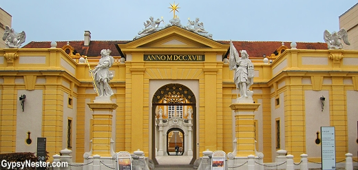 The entrance to The Benedictine Abbey in Melk, Austria on the Danube River