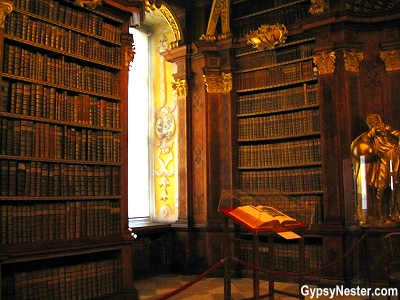 The library of The Benedictine Abbey in Melk, Austria in the Wachau Valley