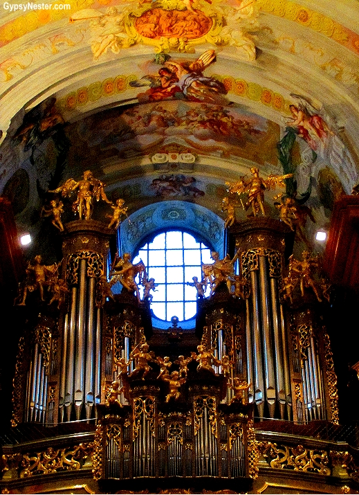 The pipe organ at The Benedictine Church at Melk Abbey, Austria