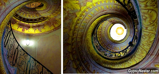 The staircase between the library and church of The Benedictine Abbey in Melk, Austria in the Wachau Valley
