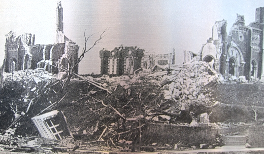 The destruction of the Ukakami Cathedral by atomic bomb in Nagasaki, Japan