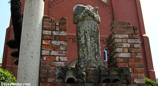 Statues that survived the atomic bomb at Urakami Cathedral in Nagasaki, Japan