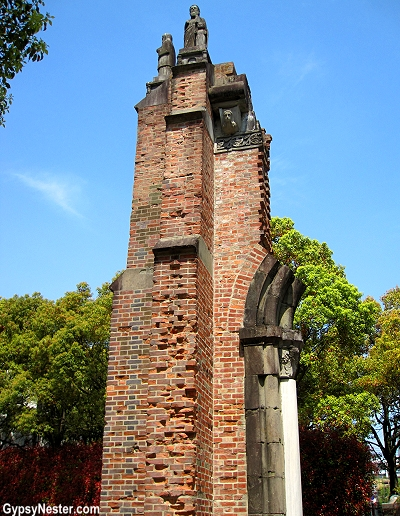 The wall of the Urakami Cathedral at the hypocenter in Nagasaki, Japan