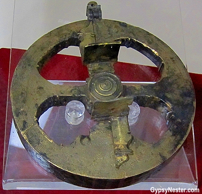 An astrolabe from the early 1600s, found by Wayne Mushrow near Isle Aux Morts, Newfoundland
