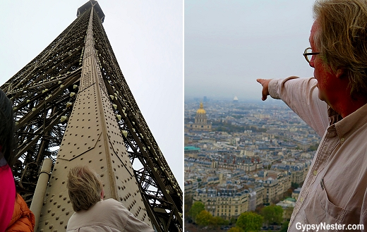 Views from the second observation level of the Eiffel Tower in Paris, France