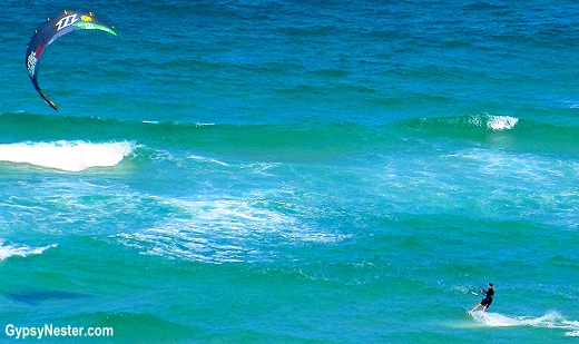Kitesurfer plays below our balcony at Peppers Broadbend, Gold Coast, Queensland, Australia