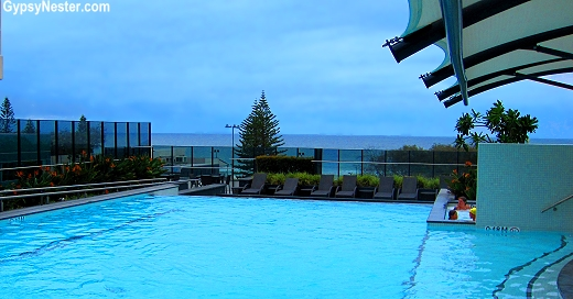 The highrise pool looking over the ocean at Peppers Hotel, Gold Coast, Queensland, Australia