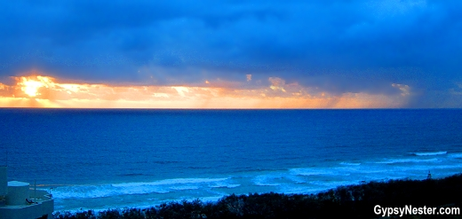 Sunset off our balcony at Peppers Broadbend, Gold Coast, Queensland, Australia