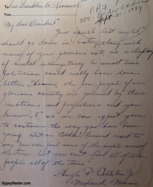 Letters from American's at Franklin D. Roosevelt Presidential Library and Museum