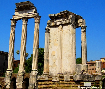 Temple of Vespasian and Titus at The Forum in Rome