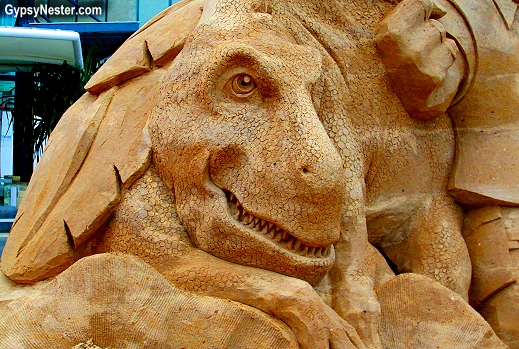 Dinosaur at the Sand Sculpting Championships in Gold Coast, Queensland, Australia