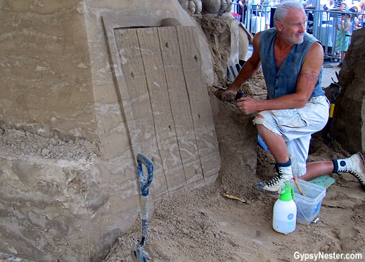 Work in progress at the Sand Sculpting Championships in Gold Coast, Queensland, Australia