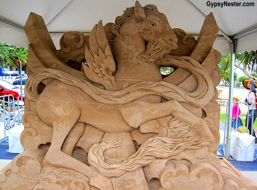 Whimsical horse at the Sand Sculpting Championships in Gold Coast, Queensland, Australia