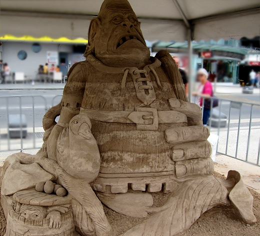 Jack and the Beanstalk at the Sand Sculpting Championships in Gold Coast, Queensland, Australia